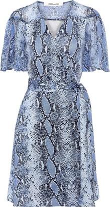 Diane von Furstenberg Zella Snake-print Georgette-paneled Silk-jersey Mini Wrap Dress