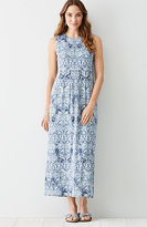 J. Jill Printed Empire-Waist Knit Maxi Dress