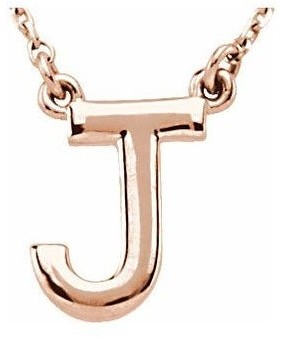 Diamond2deal 14K Rose Gold Block Initial J Necklace 16 Inch