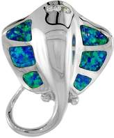 Sabrina Silver Sterling Silver Stingray Pendant Synthetic Opal Inlay Cubic Zirconia Accent, 1 1/8 inch tall