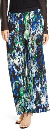 Fuzzi Floral Print Pleated Wide Leg Pants
