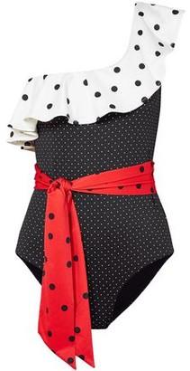 Ganni One-shoulder Ruffled Polka-dot Swimsuit