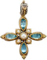 Konstantino Amphitrite Topaz & Pearl Cross Pendant Enhancer