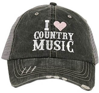 Katydid I Love Country Music Women's Trucker Hat-Light Pink