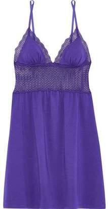 Cosabella Sweet Treats Lace-paneled Cotton-blend Jersey Chemise