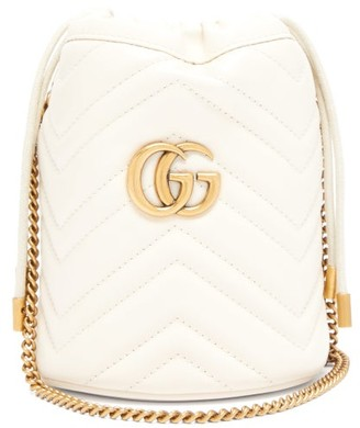 Gucci GG Marmont Leather Bucket Bag - White