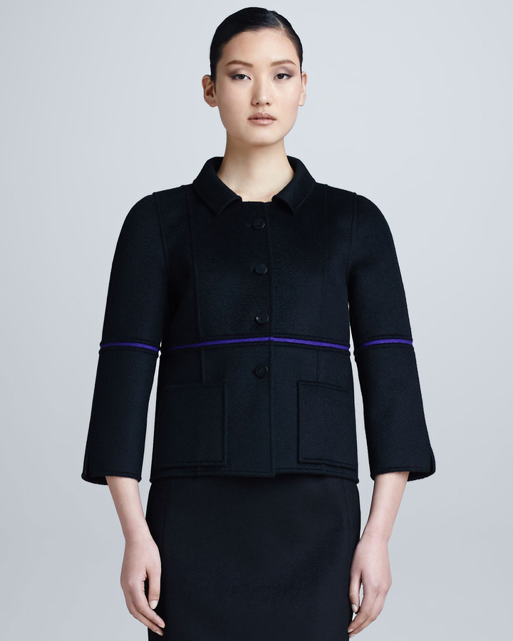 Chado Ralph Rucci Single-Sliver Bonded Jacket, Black/Violet