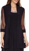 R & M Richards R&M Richards Long-Sleeve Sheer-Inset Bead Jacket Dress