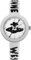 Vivienne Westwood Southbank White and Silver Bezel Graffiti Logo Dial White and Black Printed Leather Strap Watch