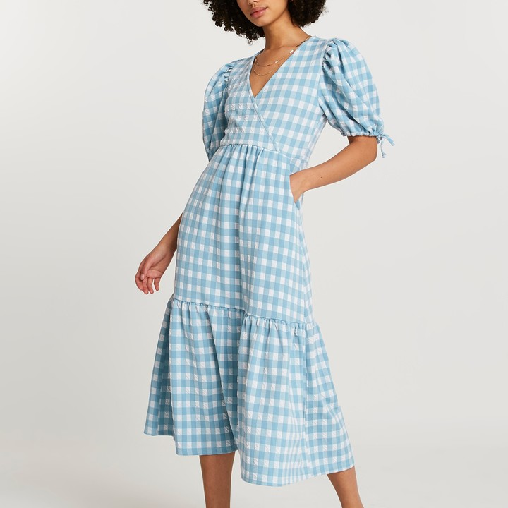 Thumbnail for your product : River Island Womens Blue textured gingham wrap midi dress