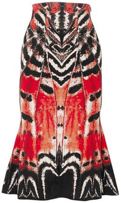 Alexander McQueen Fluted Printed Jacquard-knit Midi Skirt
