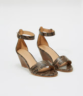 LOFT Embossed Ankle Strap Wedge Sandals