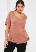 Missguided Plus Size Pink V-Neck Boyfriend T-Shirt