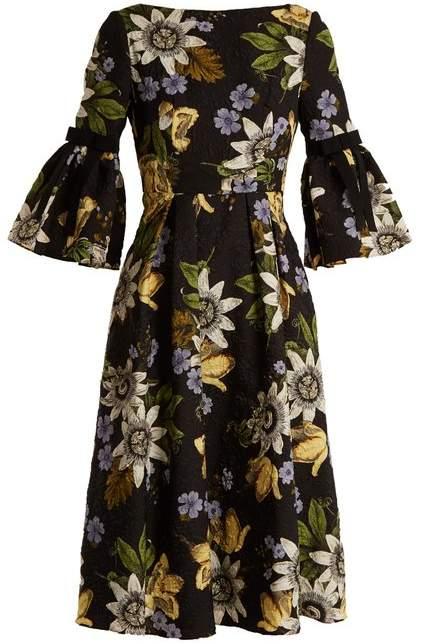 Erdem Aleena Floral Print Matelasse Dress - Womens - Black Print