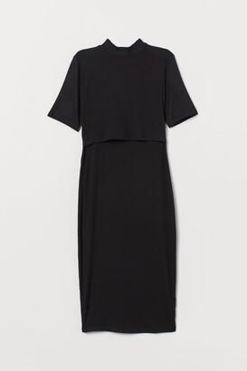 H&M MAMA Ribbed Nursing Dress - Black