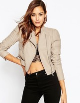 Asos Leather Look Cropped Biker Jacket with Buckle Detail