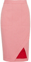 Altuzarra Wilcox Gingham Cotton-blend Wrap-effect Skirt - Red