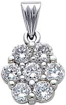 enMine Fine Jewelry Collection 14k White Cluster CZ Flower Charm Pendant