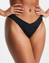 Thumbnail for your product : Pour Moi? Pour Moi Fuller Bust Space high leg bikini bottoms in black