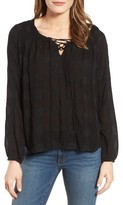 Velvet by Graham & Spencer Women's Mandala Embroidered Lace-Up Blouse