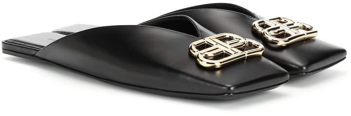 Balenciaga BB leather slippers