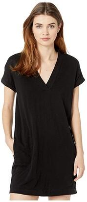 bobi Los Angeles Short Sleeve Dolman V-Neck Dress in Slub Jersey (Black) Women's Dress