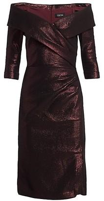 Teri Jon by Rickie Freeman Metallic Portrait Neckline Cocktail Dress