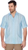Cubavera Big & Tall Linen Blend Stripe Panel Shirt