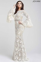 Jovani Bell Sleeve Lace Prom Dress 35160