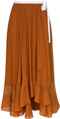 Chloé Silk-Mousseline Midi Skirt