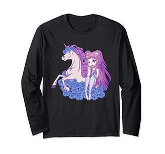 Cute Anime Kawaii Unicorn Pastel Girl Women Gift Long Sleeve T-Shirt