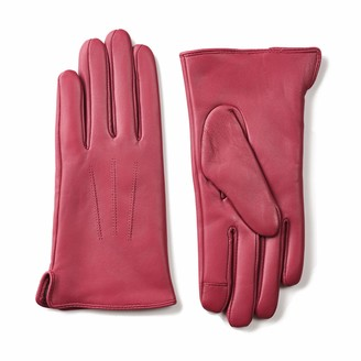 ZEN ELK Women's 3-Points Back Classic Leather gloves with Touch Screen and Cashmere Lining (Large