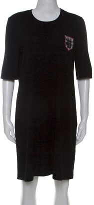 Chanel Black Wool Edinburgh Emblem Detail T-Shirt Dress L