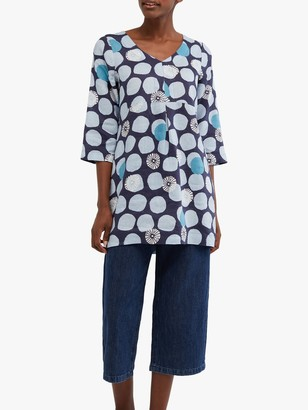 White Stuff Bailey Abstract Linen Tunic Top, Ink Navy
