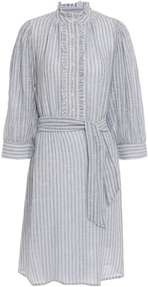 Antik Batik Ruffle-trimmed Striped Cotton-jacquard Dress