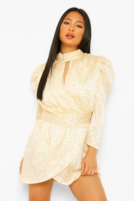 boohoo Petite Jacquard Leopard Print High Neck Mini Dress