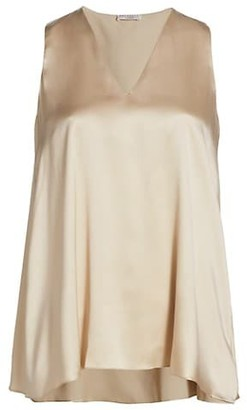 Brunello Cucinelli Sleeveless Silk V-Neck Top