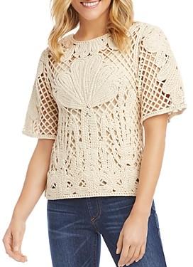 Karen Kane Crocheted Short-Sleeve Top