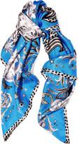 Roberto Cavalli Galaxy Garden printed silk satin-twill scarf