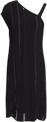 Gentryportofino Ruffled Pointelle-trimmed Ribbed-knit Mini Dress