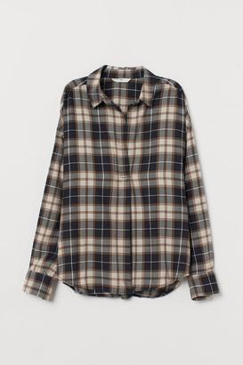 H&M Wide-cut Cotton Flannel Blouse