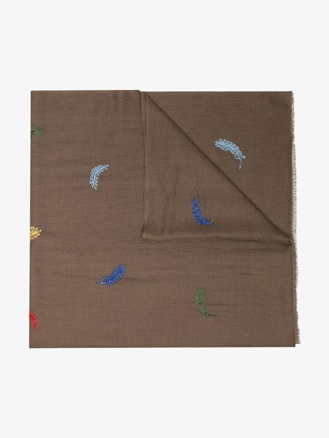 Janavi brown feather embroidered scarf