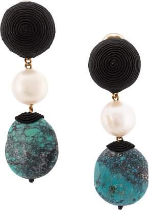 Rebecca De Ravenel Mini Treasures 3 Tier Turquoise Drop Earrings
