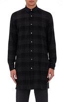 Robert Geller Men's Plaid Cotton Flannel Elongated Shirt-DARK GREY, BLACK