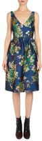 Erdem Dora Floral Jacquard V-Neck Dress