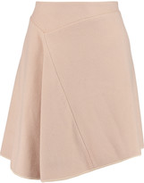 Pringle Asymmetric silk-trimmed cashmere-felt skirt