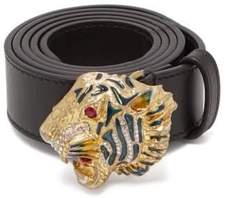Gucci Tiger-embellished Leather Waist Belt - Womens - Black