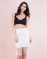Missy Empire Jasmy Cream Floral Lace Tassel Midi Skirt