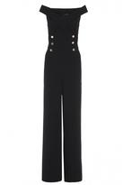 Quiz Black Bardot Button Detail Wide Leg Jumpsuit