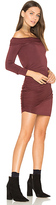 Krisa Ruched Off Shoulder Mini Dress in Burgundy. - size M (also in )